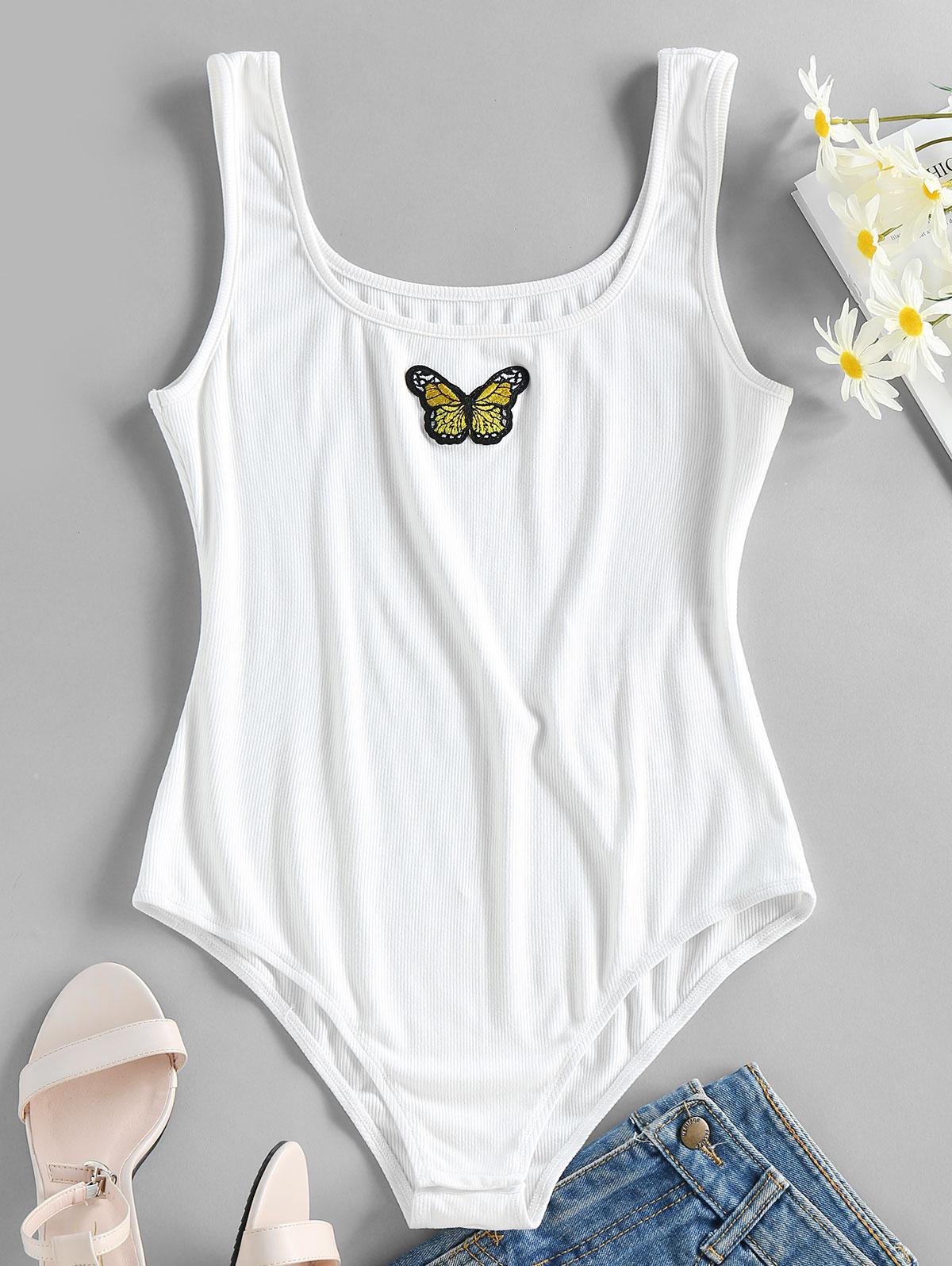 ZAFUL Ribbed Butterfly Applique Tank Bodysuit