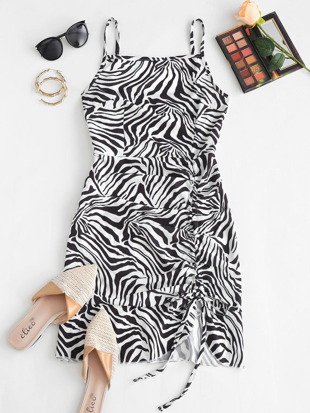Cami Asymmetrical Flame Zebra Tie Dye Cinched Dress