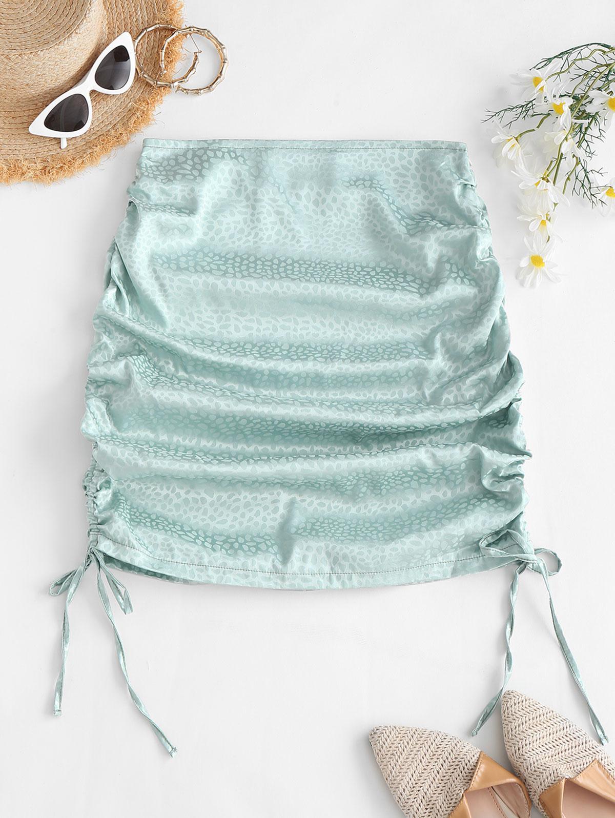 Side Cinched Jacquard Satin Skirt