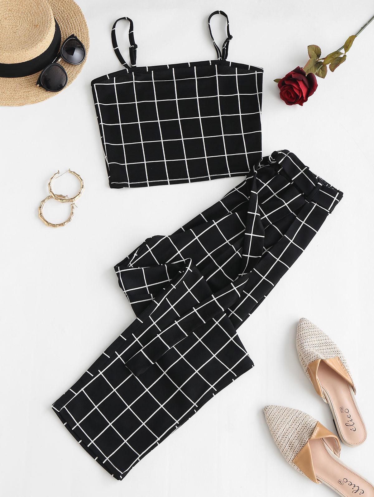 Grid O-ring Belt Two Piece Pants Set