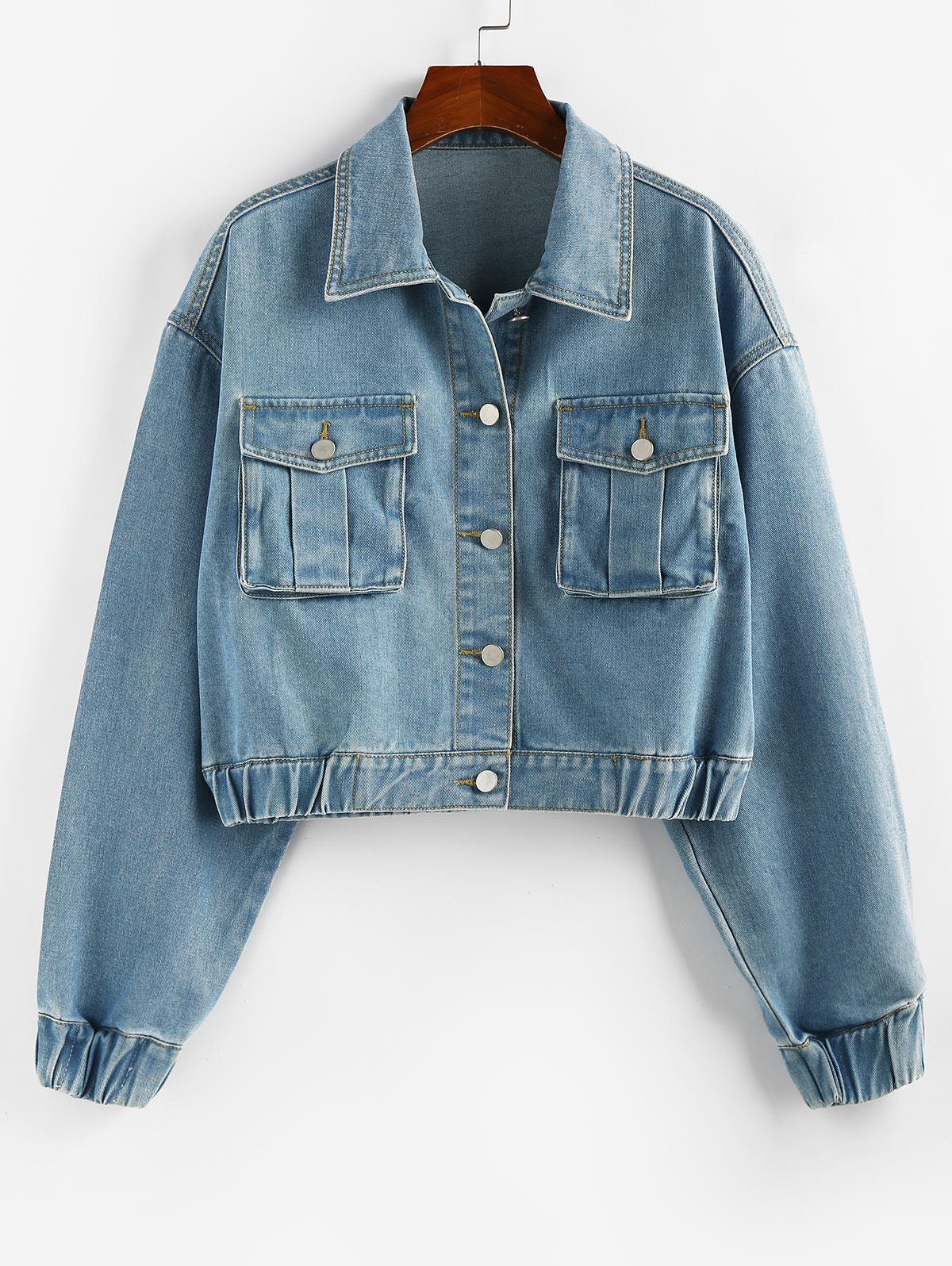 ZAFUL Drop Shoulder Elastic Cuffs Pocket Denim Jacket