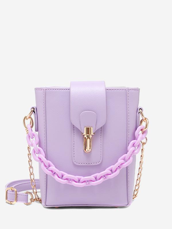 Chain Embellished Mini Crossbody Bucket Bag
