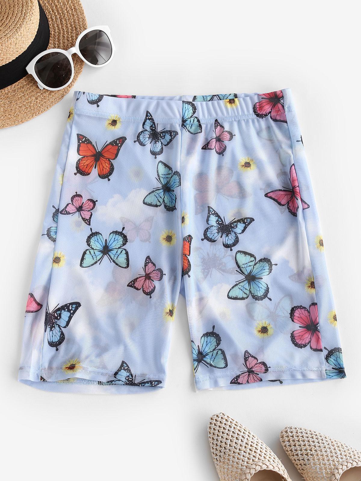 Sheer Mesh Butterfly Sunflower Biker Shorts