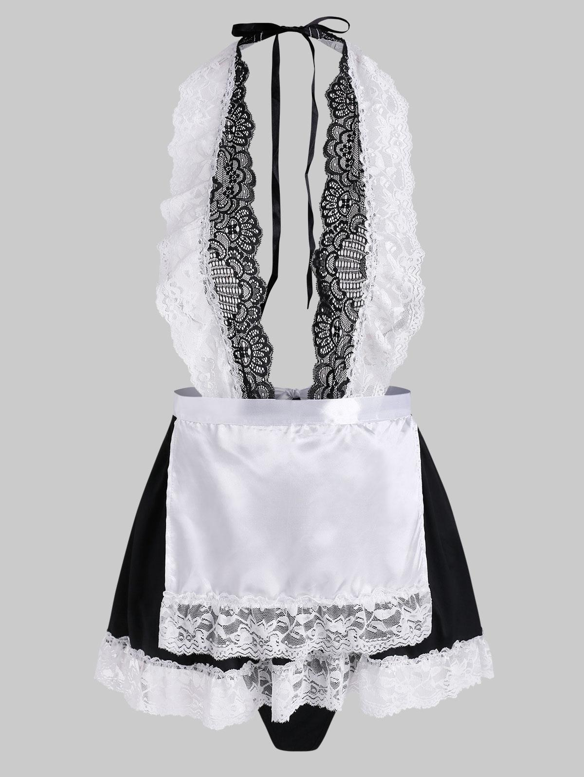 Lace Panel Backless Housemaid Apron Lingerie Set