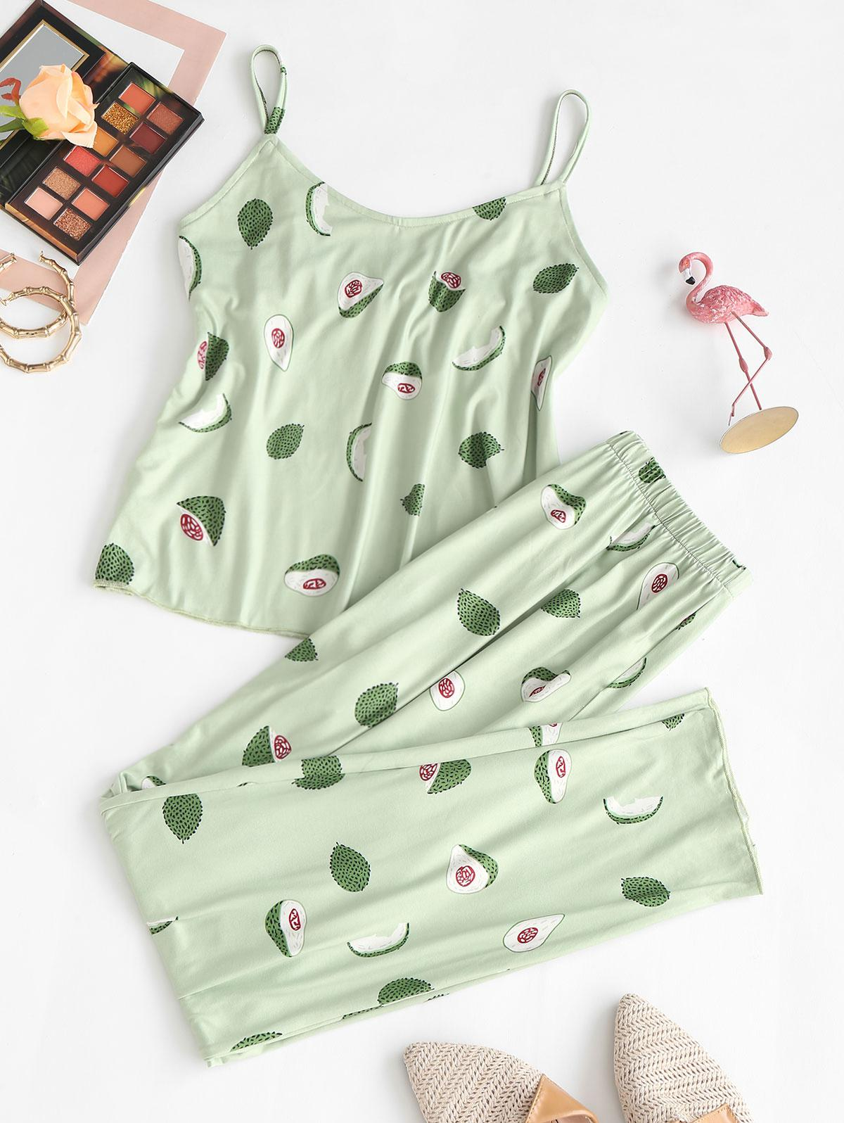 Fruit Avocado Print Pajama Pants Set