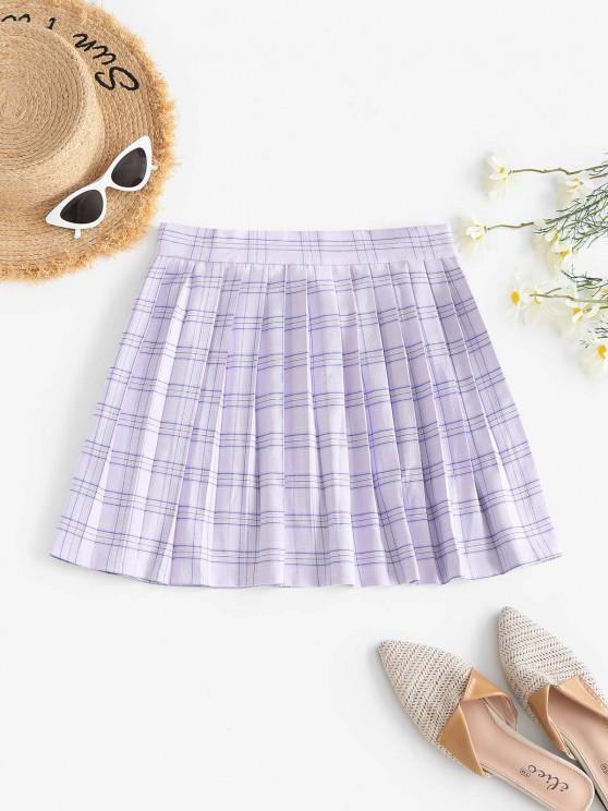 womens Plaid Pleated Mini Skirt - LIGHT PURPLE L