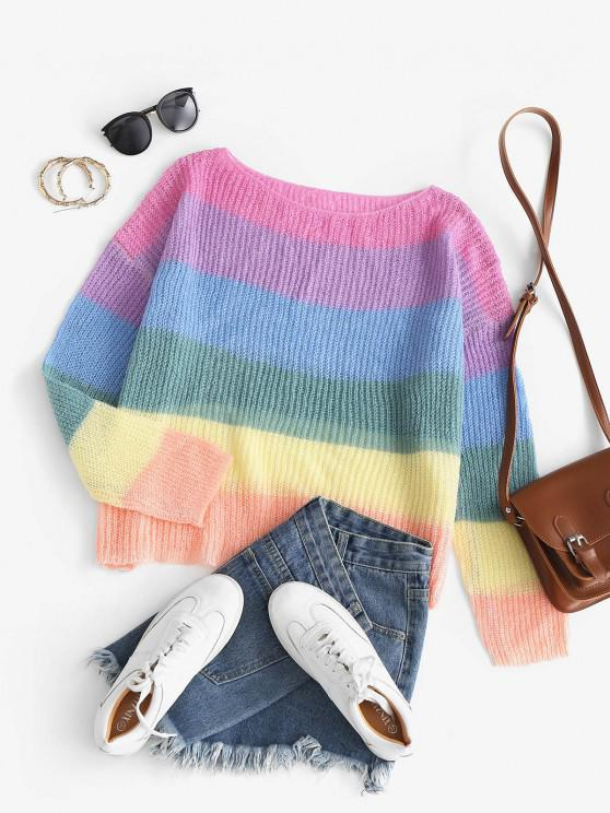 affordable Striped Rainbow Oversized Knit Sweater - MULTI ONE SIZE