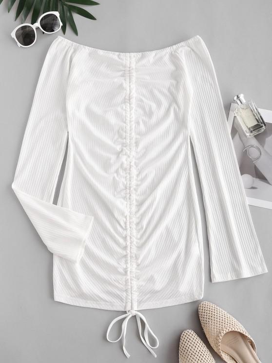 best Ribbed Off Shoulder Cinched Front Dress - WHITE L