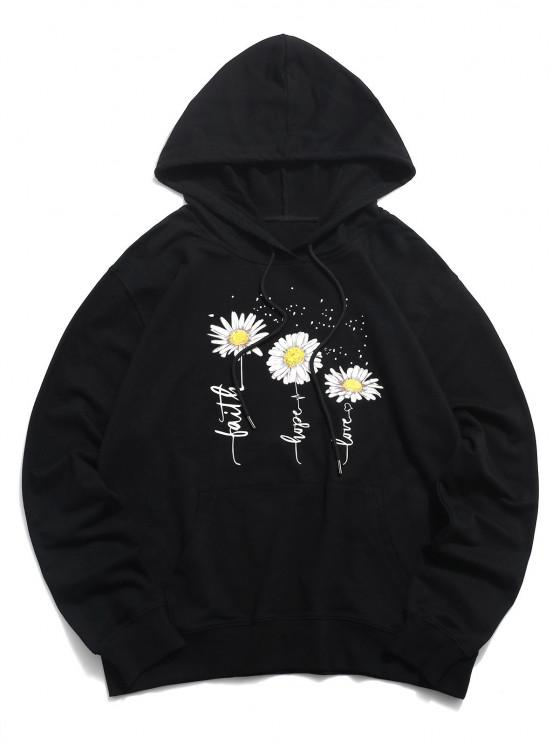 new Tripe Daisy Graphic Casual Pouch Pocket Hoodie - BLACK XS
