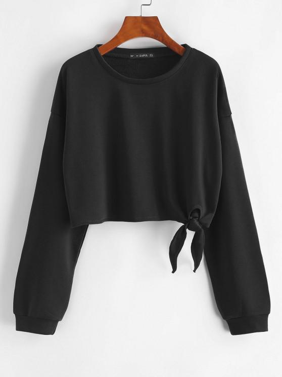 hot Drop Shoulder Tied Crop Sweatshirt - BLACK S