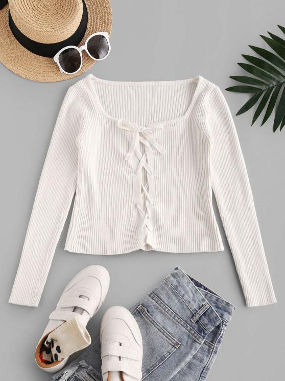 best Fitted Lace Up Ribbed Knitwear - WARM WHITE ONE SIZE