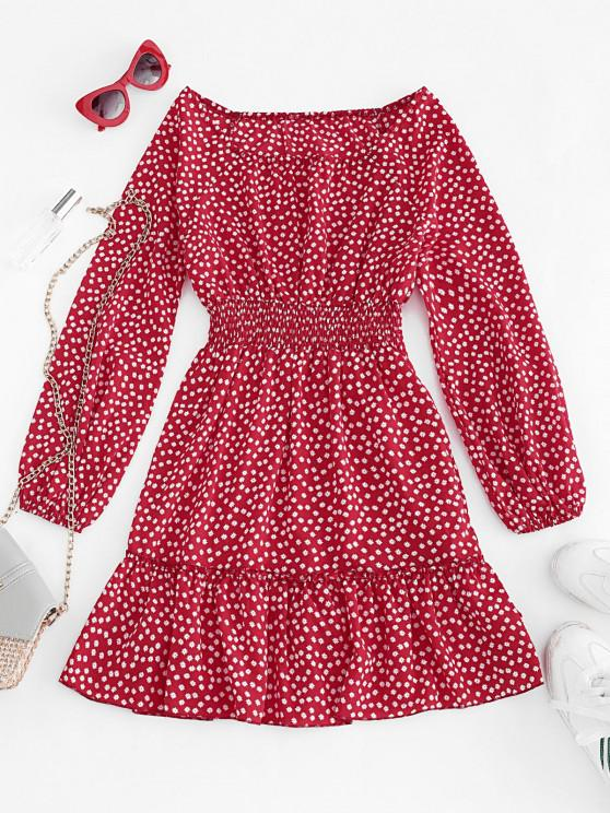 fancy Ditsy Floral Lantern Sleeve Flounce Dress - RED L