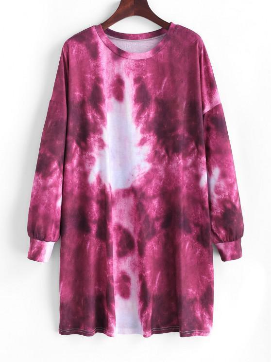 chic Tie Dye Drop Shoulder Shift Tee Dress - DEEP RED M