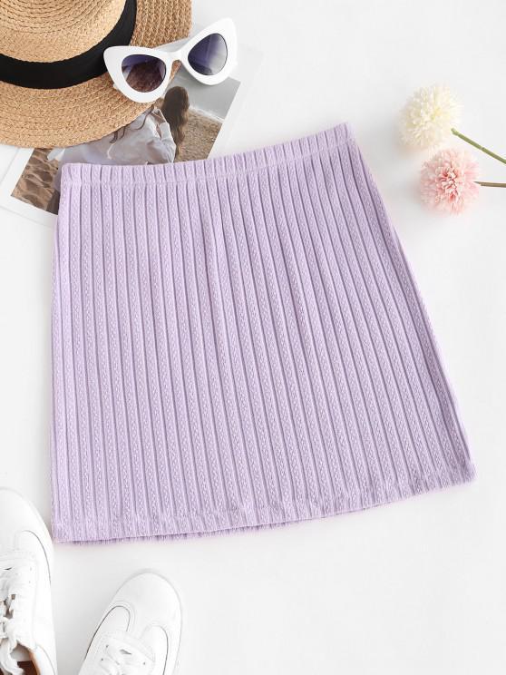 trendy Knitted Bodycon Mini Skirt - LIGHT PURPLE S
