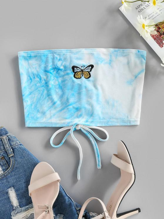 fancy ZAFUL Lace Up Butterfly Embroidered Velvet Crop Tube Top - LIGHT BLUE XL