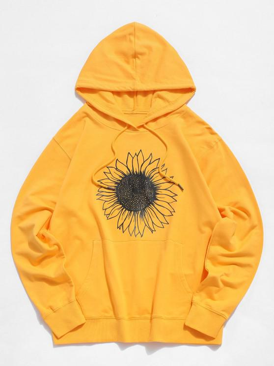 affordable Sunflower Graphic Pouch Pocket Drawstring Hoodie - YELLOW XS