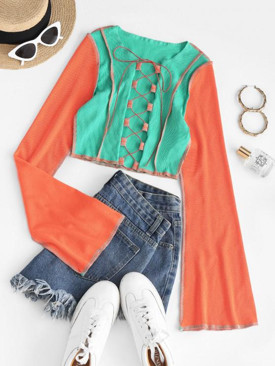 latest Reverse Colorblock Topstitching Lace-up Bell Sleeve Ribbed Crop Top - GREEN L