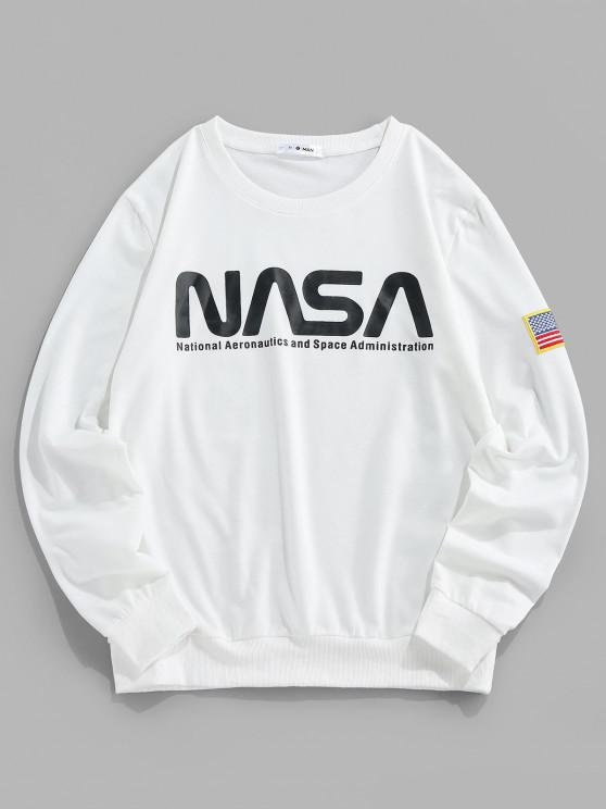 best ZAFUL Letter Print American Flag Embroidered Sweatshirt - WHITE 2XL