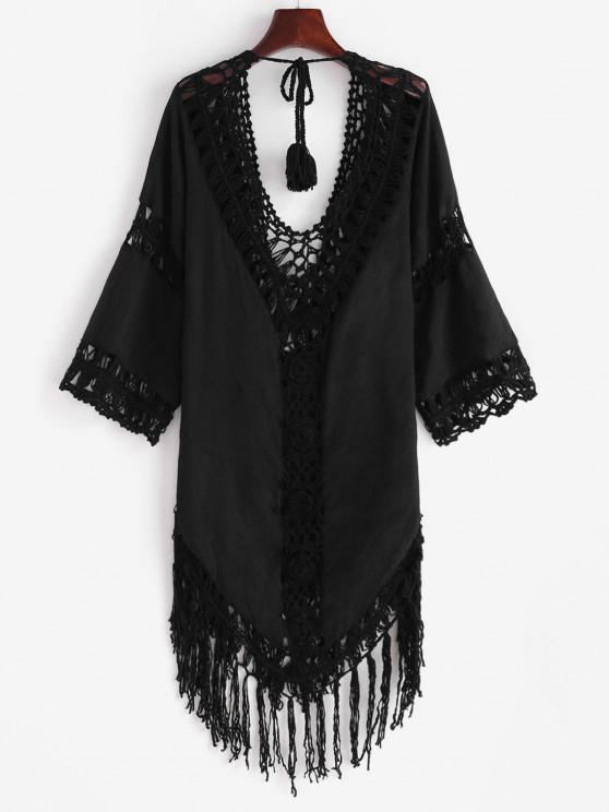Tie Back Tasseled Crochet Panel Cover Up Dress - أسود مقاس واحد