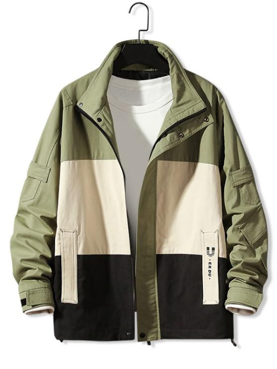 outfits Colorblock Panel Letter Print Jacket - ARMY GREEN 3XL
