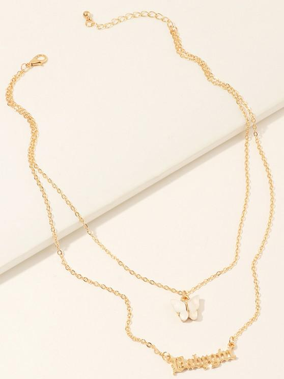 Butterfly Letters Layered Necklace - أبيض