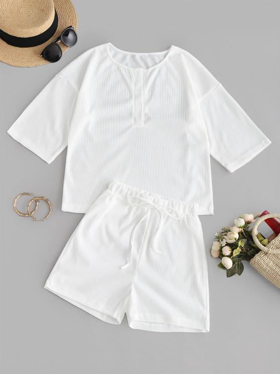 affordable Ribbed Drop Shoulder T-shirt and Mini Shorts - WHITE S