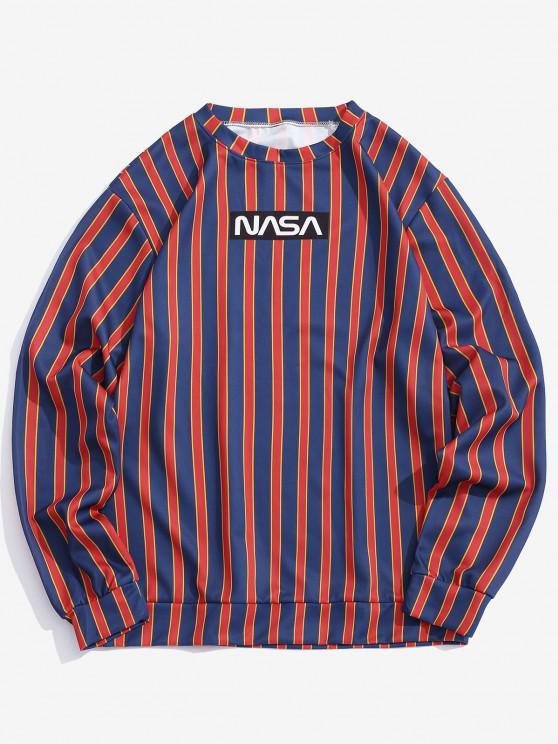 fancy Letter Print Contrast Striped Sweatshirt - DEEP BLUE 3XL