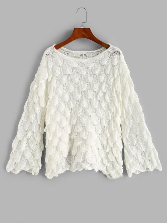 Durchbrochener Fischschuppen Meerjungfrau Pullover - Weiß Eine Größe
