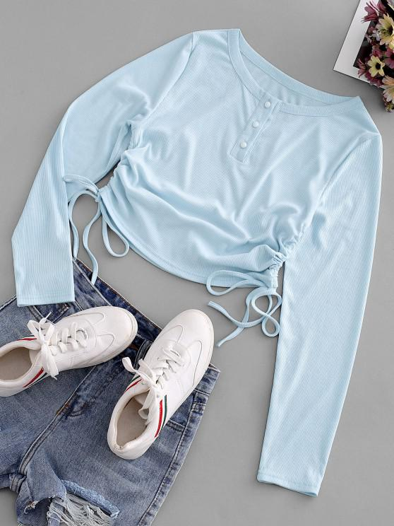 shop Ribbed Cinched Tie Henley Slim Tee - LIGHT BLUE S