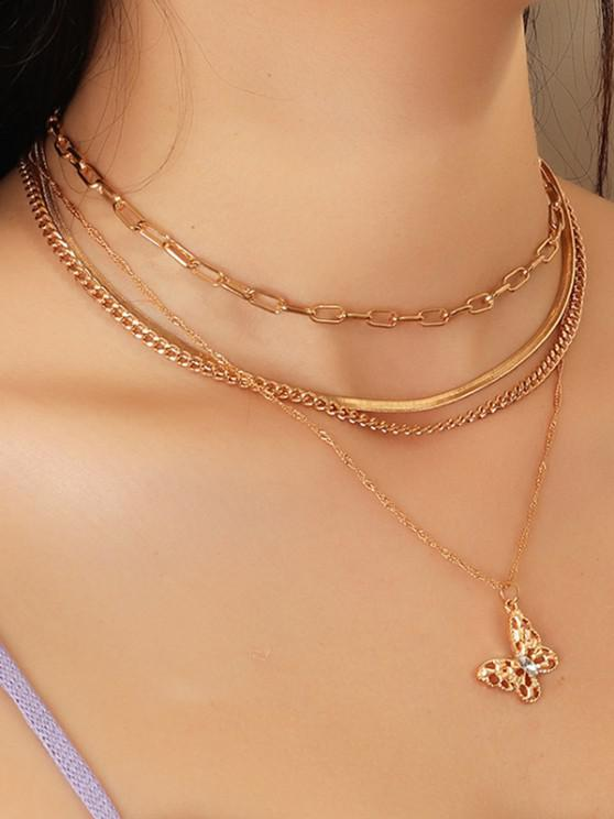 Hollow Butterfly Multilayered Necklace - ذهبي
