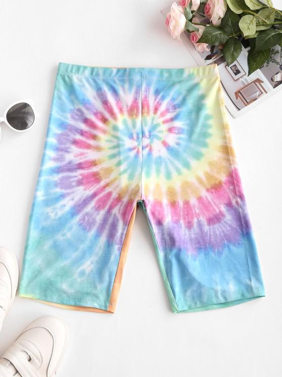 ladies High Waisted Colorful Tie Dye Biker Shorts - MULTI-B L