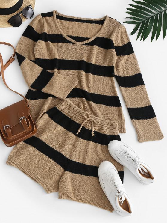 Contrast Stripes V Neck Two Piece Set - قهوة M
