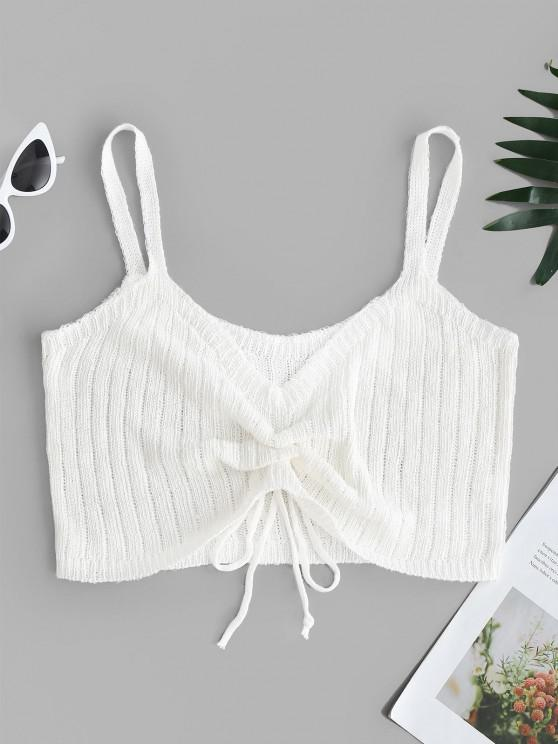 unique V Neck Cinched Front Knitted Crop Top - WHITE XL