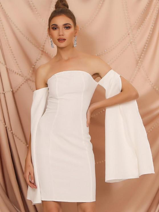 fancy Off The Shoulder Split Sleeve Pencil Dress - WHITE L