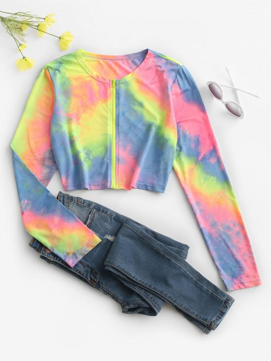 Tie Dye Zip Up Crop Jacket - متعدد M