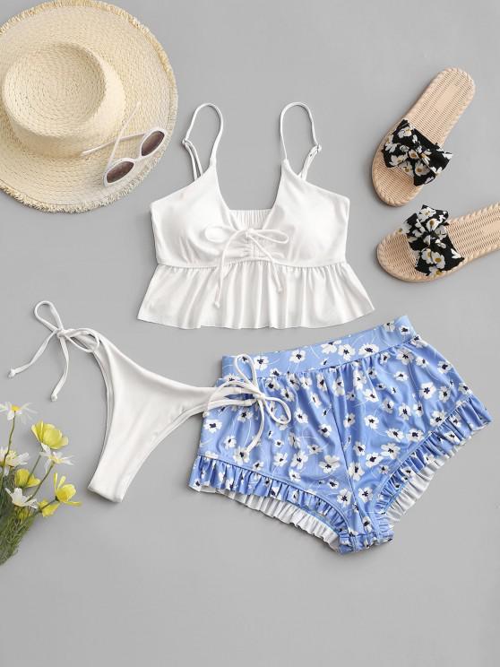 women's ZAFUL Flower Ribbed Cinched Ruffle High Leg Three Piece Swimwear - WHITE S