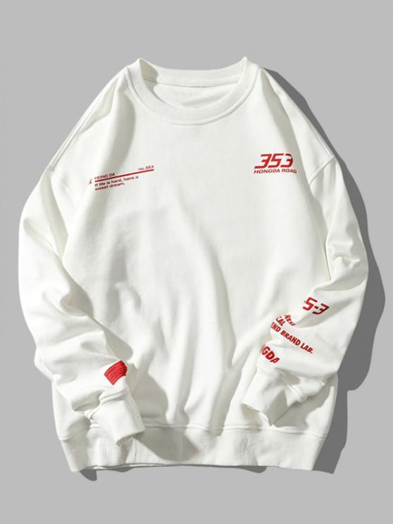 trendy Letter Graphic Pattern Drop Shoulder Sweatshirt - WHITE 2XL