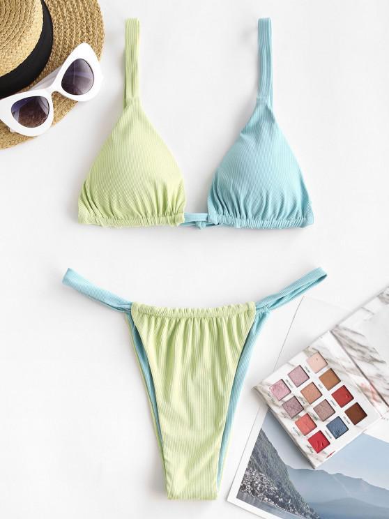 trendy ZAFUL Ribbed Bicolor Tanga Bikini Swimwear - LIGHT BLUE S