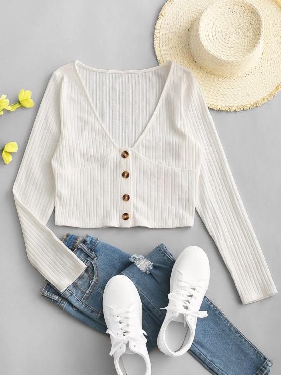 outfit ZAFUL Mock Button Plunging Crop T-shirt - WHITE M
