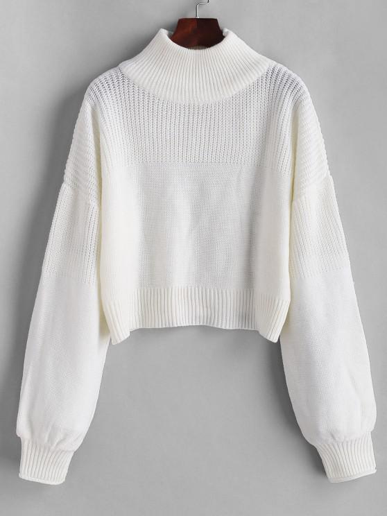 Plain Drop Shoulder Mock Neck Sweater - أبيض M