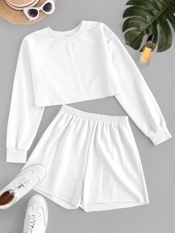 ladies ZAFUL French Terry Raw Cut Two Piece Shorts Set - WHITE M