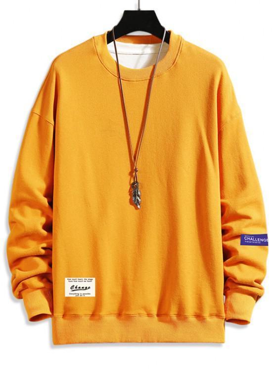 ladies Letter Text Drop Shoulder Crew Neck Sweatshirt - BEE YELLOW 2XL