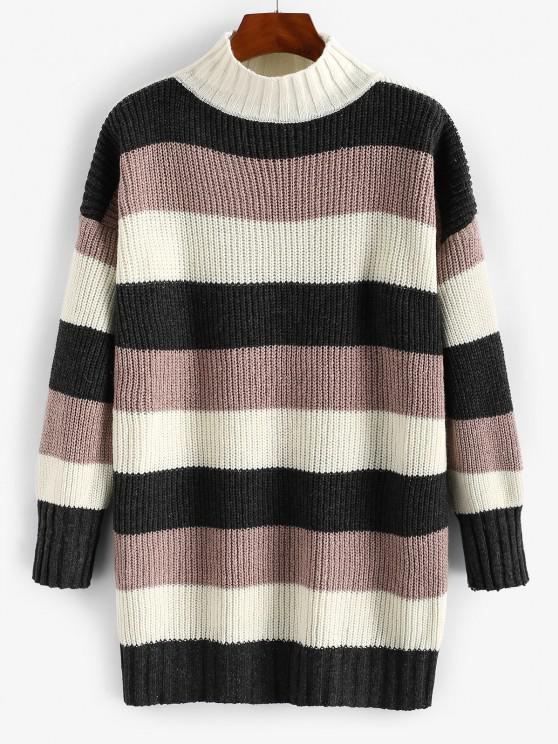 chic Mock Neck Colorblock Stripes Boyfriend Sweater - DEEP COFFEE ONE SIZE