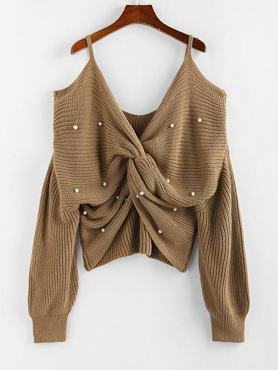 ZAFUL Faux Pearl Embellished Twisted Cold Shoulder Sweater - قهوة M
