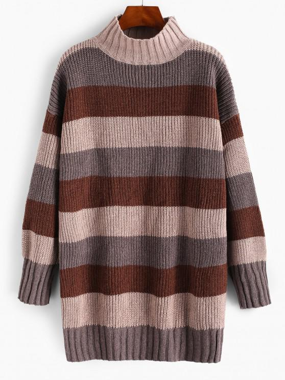 women Mock Neck Colorblock Stripes Oversized Sweater - DEEP COFFEE ONE SIZE