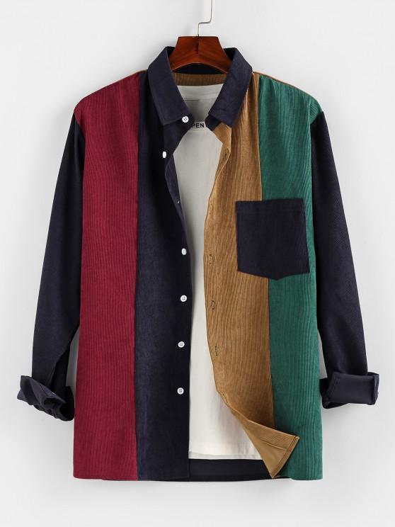 affordable Long Sleeve Contrast Pocket Corduroy Shirt - MULTI S