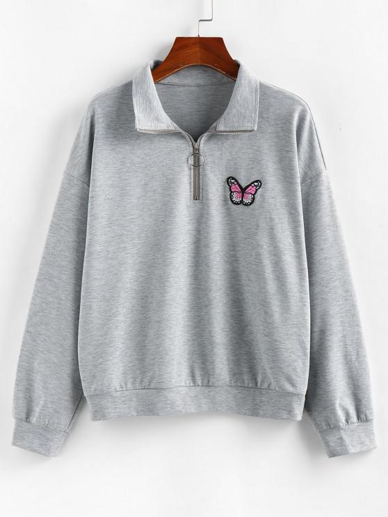 ZAFUL Drop Shoulder Butterfly Embroidered Half Zip Sweatshirt - الرماد رمادي S
