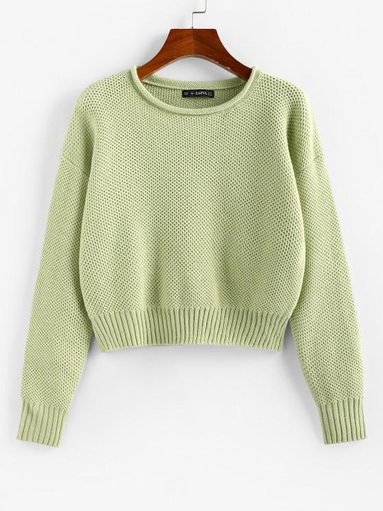 ZAFUL Drop Shoulder Roll Trim Pullover Sweater - اخضر فاتح L