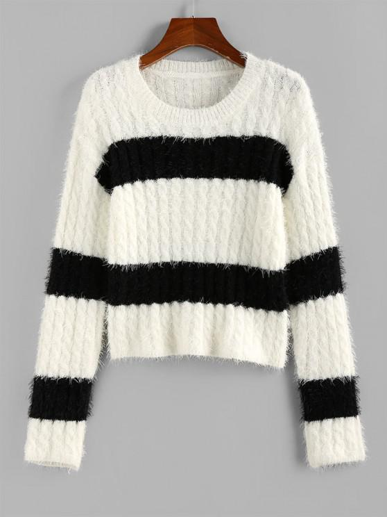 ZAFUL Two Tone Bicolor Cable Knit Fuzzy Sweater - أبيض S