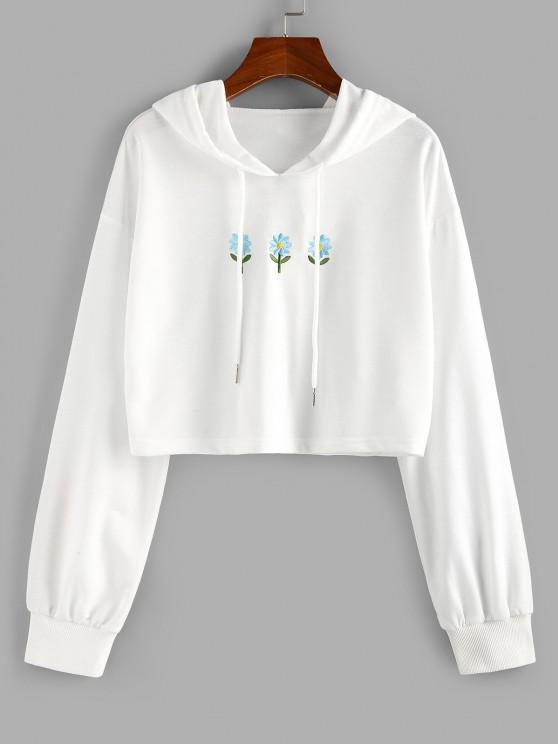 best ZAFUL Floral Embroidered Crop Hoodie - WHITE M